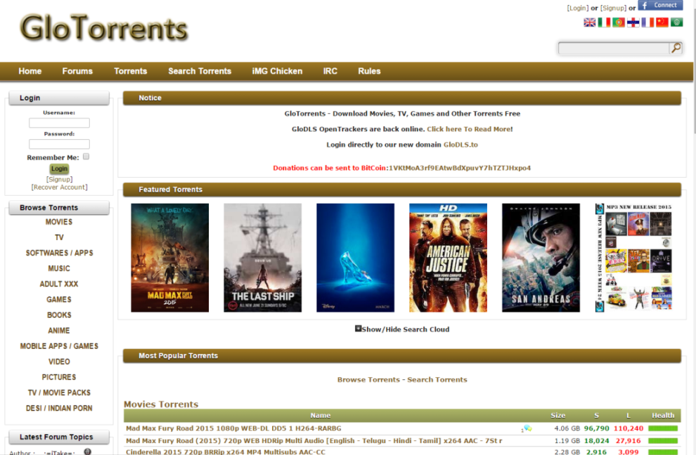 glotorrents as extra torrent unblock